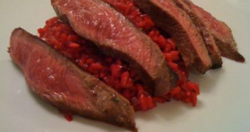 Beef with beetroot and chilli risotto