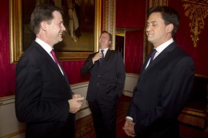 Nick Clegg, David Cameron, and Ed Miliband