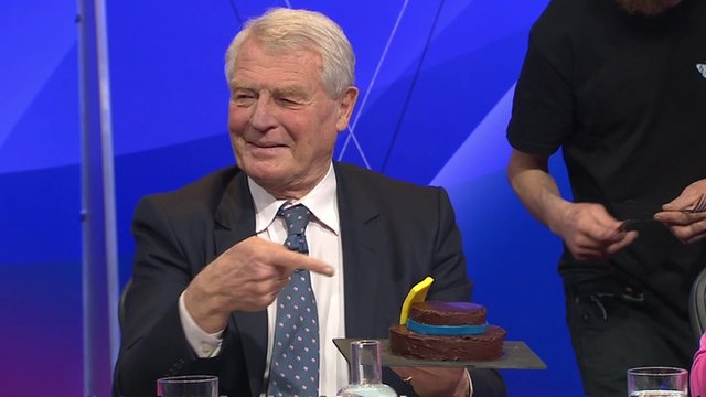 Paddy Ashdown presented with a marzipan hat on Question Time