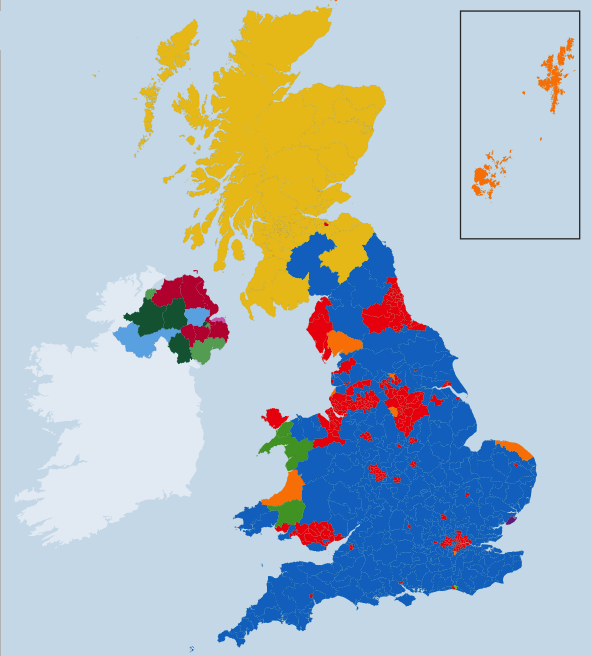 Map of the 2015 General Election results