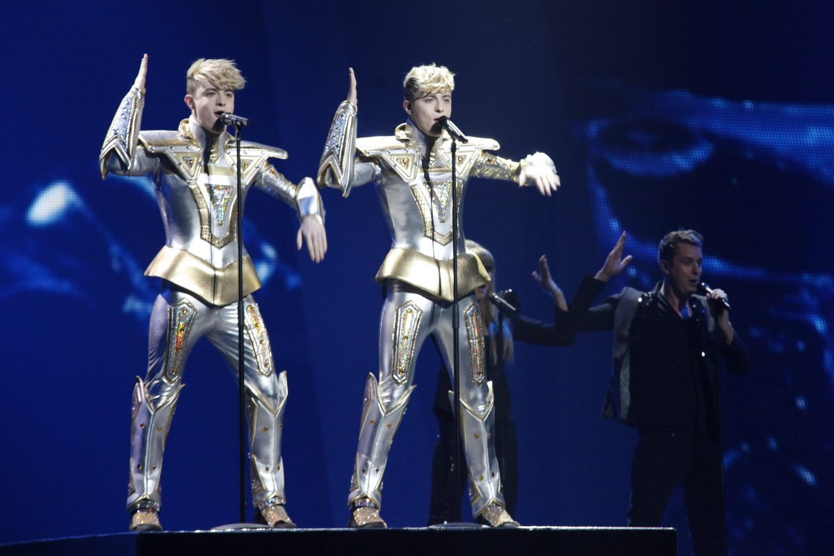 Jedward performing 'Waterline' at the Eurovision Song Contest 2012
