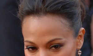 "Zoe Saldana, Neytiri from ""Avatar,"" arrives at the 82nd Academy Awards March 7, 2010 in Hollywood."